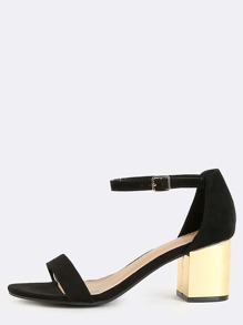 Faux Suede Metallic Block Heels BLACK