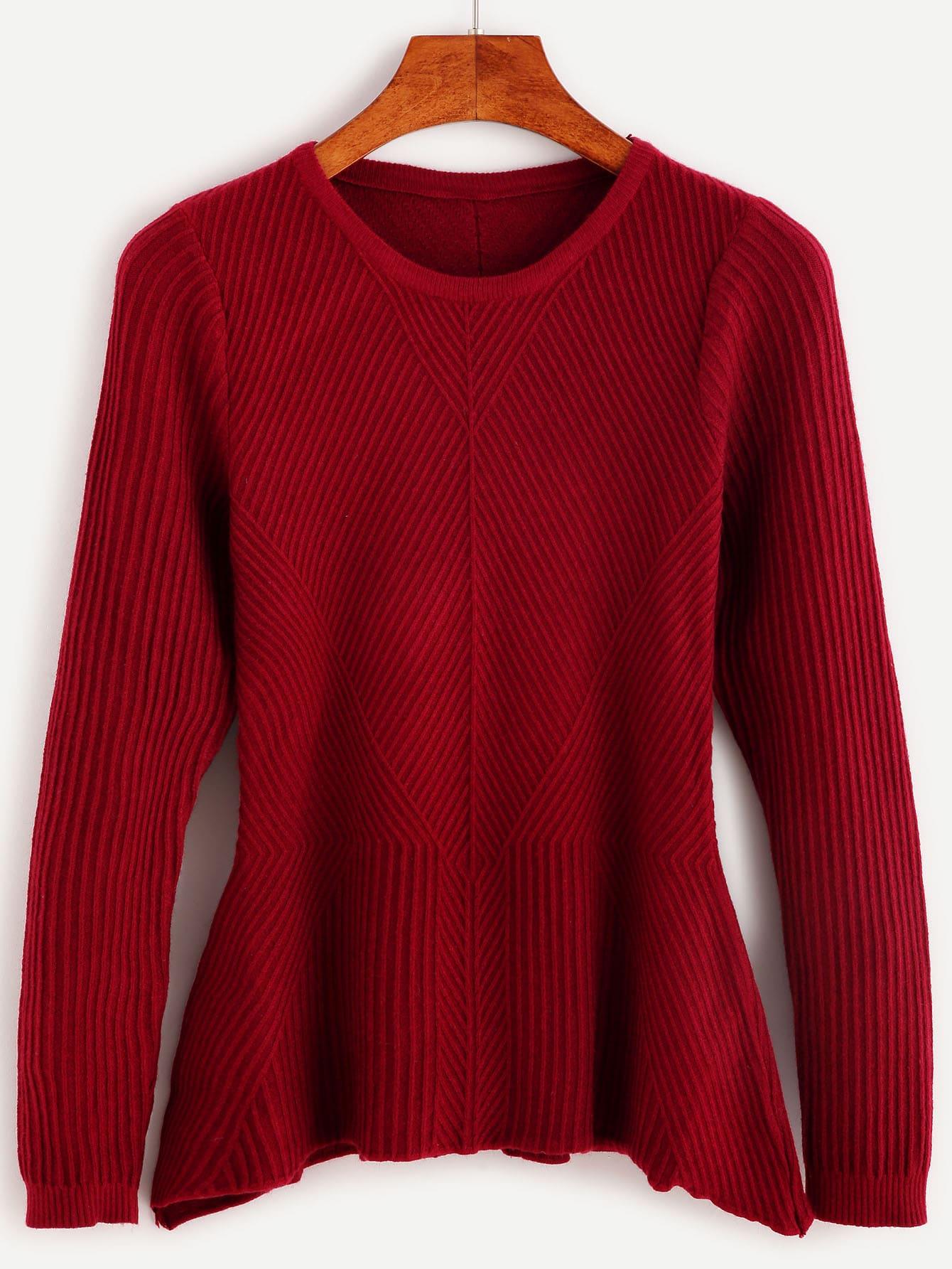 Burgundy Ribbed Peplum Sweater sweater160928105