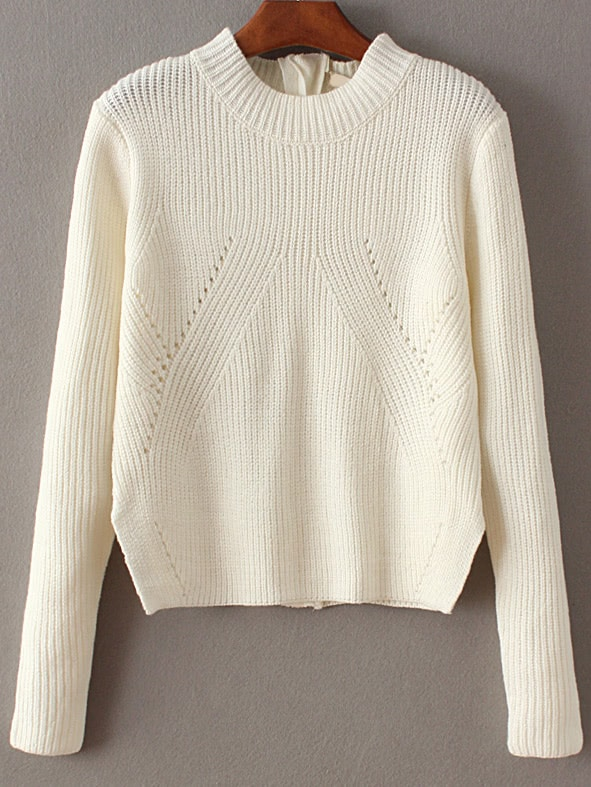 White Zipper Detail Convertible SweaterWhite Zipper Detail Convertible Sweater<br><br>color: White<br>size: one-size