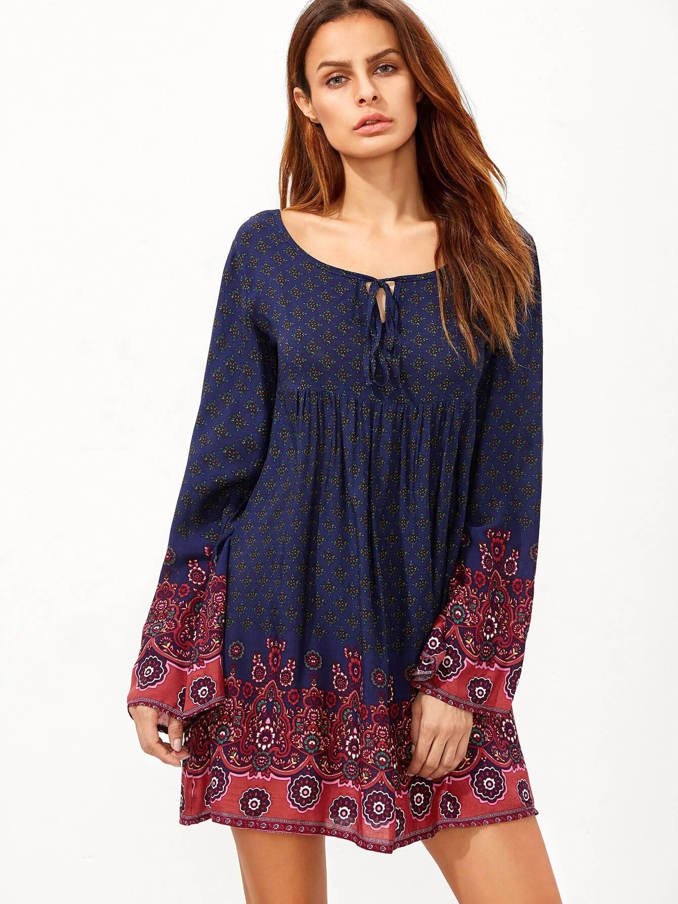 Фото Mixed Print Tie Neck Peasant Dress. Купить с доставкой