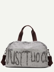 Grey Graffiti Print Canvas Handbag With Strap