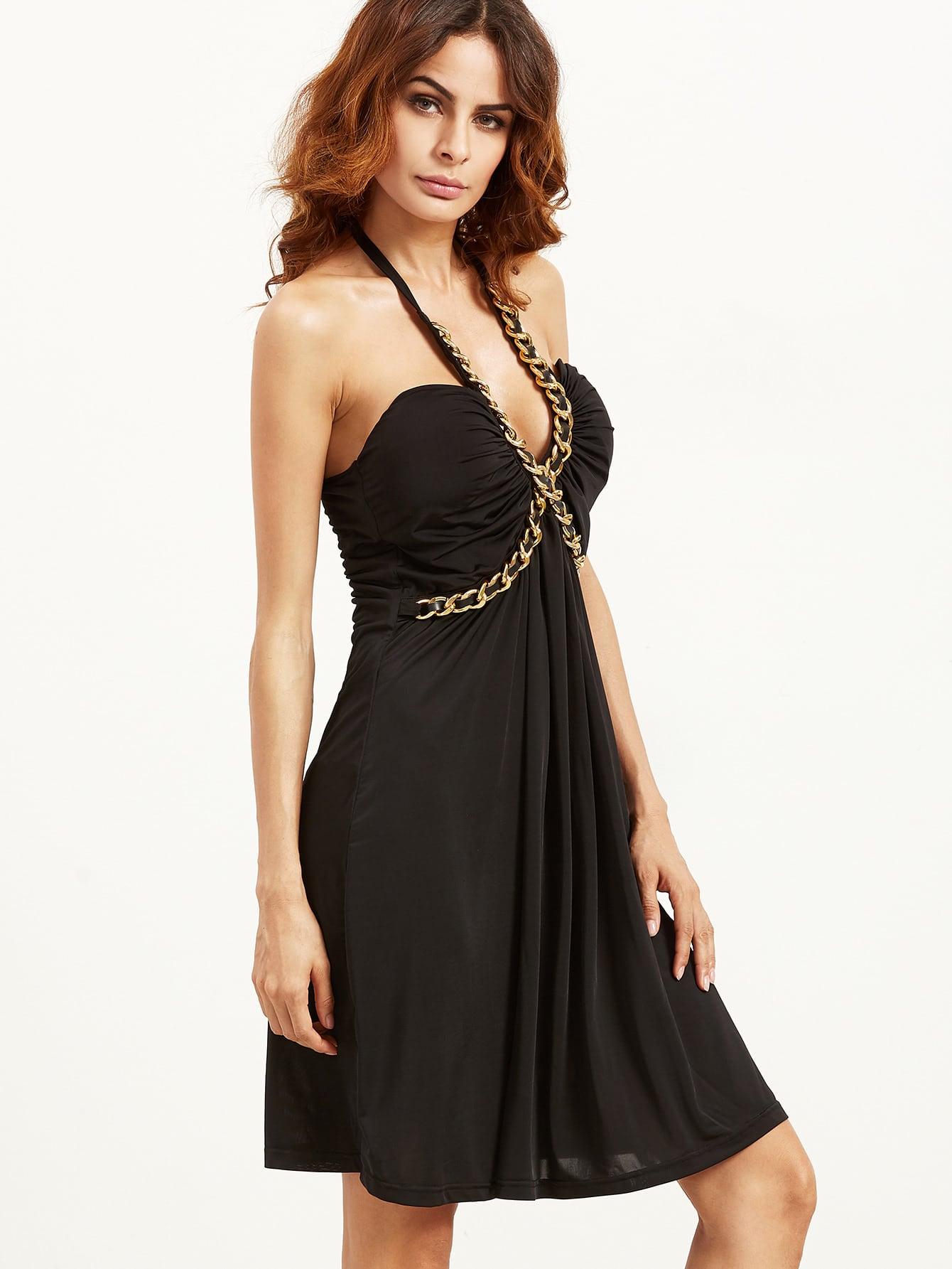 Black Criss Cross Chain Halter Dress sequined halter chain dress