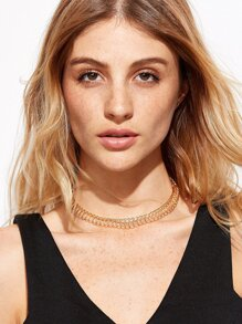 Gold Plated Geometric Choker Necklace