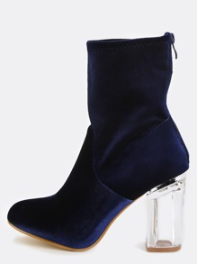 Crystal Heel Velvet Boots ROYAL BLUE