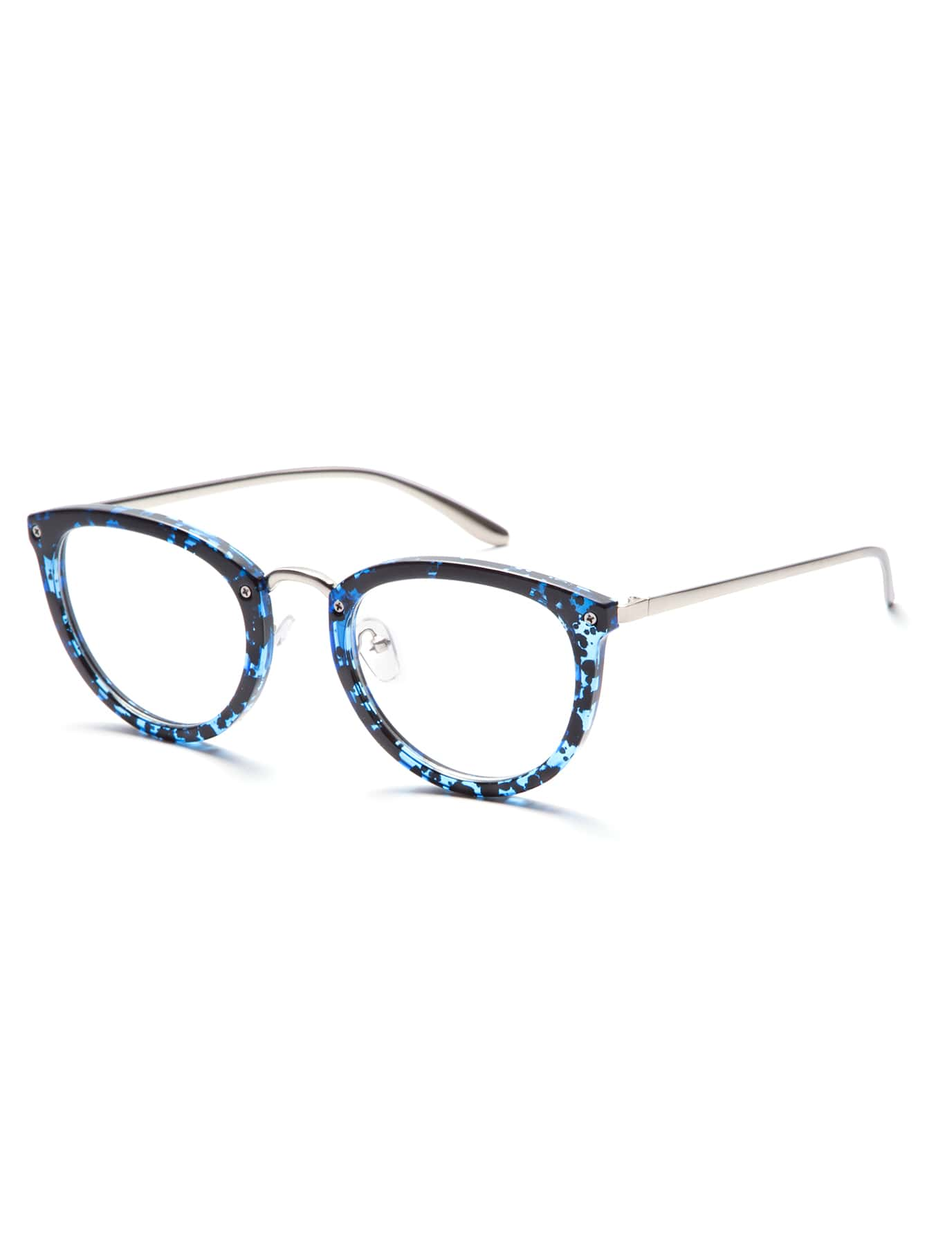 Blue Tortoise Frame Silver Arm Glasses -SheIn(Sheinside)