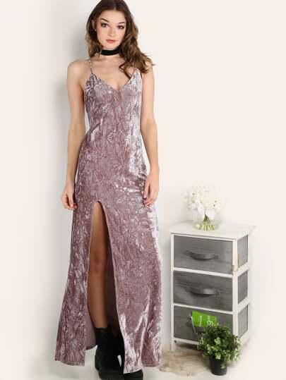 High Slit Crushed Velvet Cami Dress