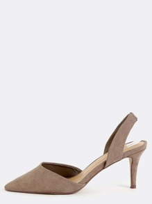 Pointed Toe Kitten Heels TAUPE