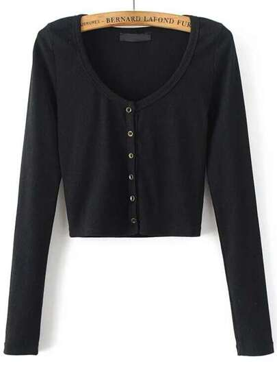 Button Up Crop Cardigan Sweater -SheIn(Sheinside)