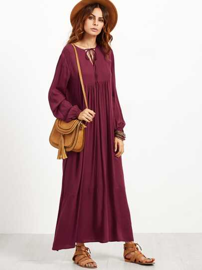 V Notch Tie Neck Pleated Maxi Peasant Dress
