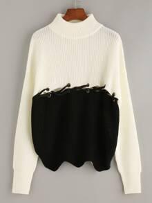 Jersey manga larga con cordón color combinado
