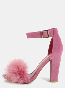 Open Toe Feather Chunky Heel MAUVE