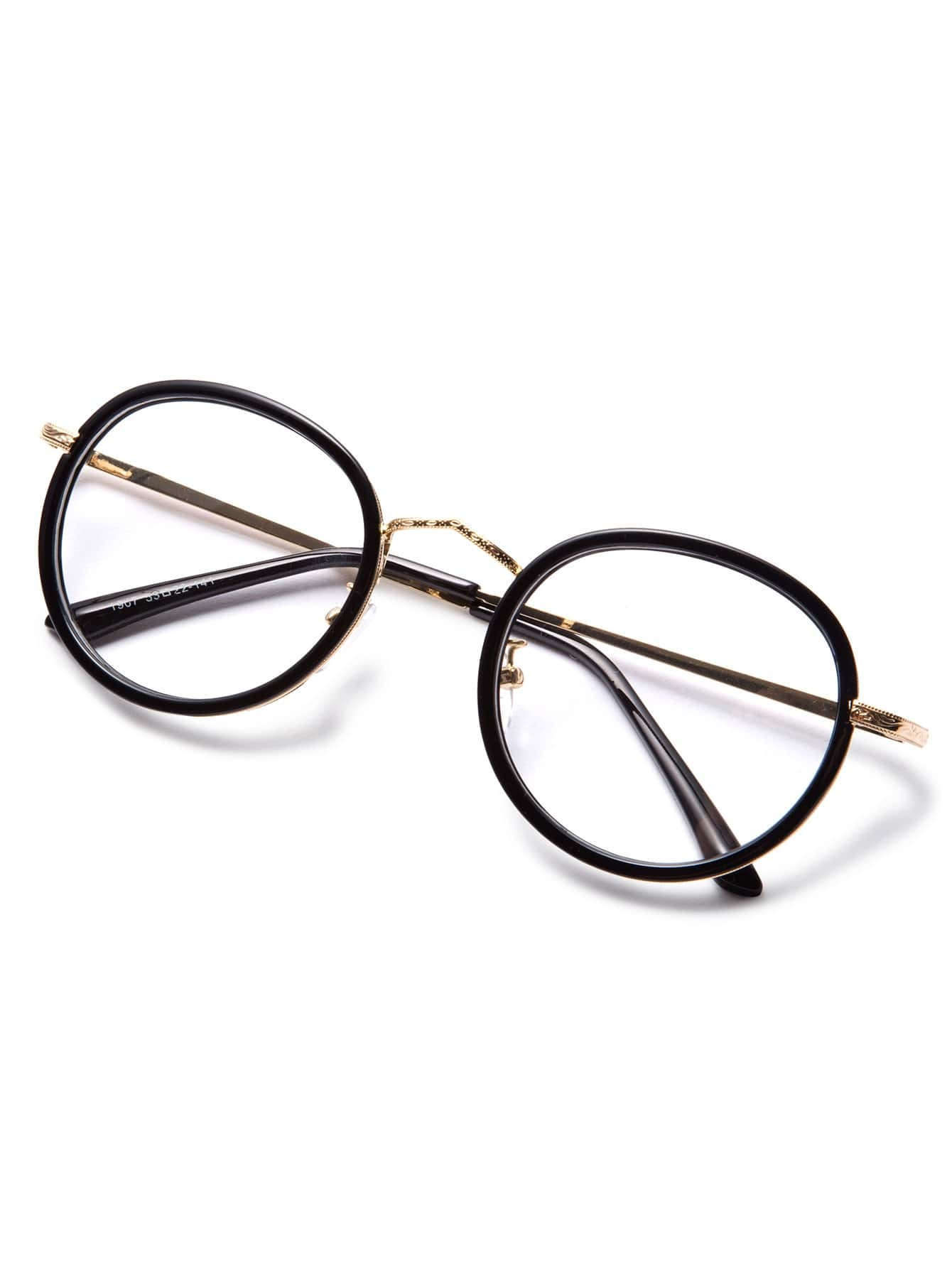 Wire Frame Glasses Vs Plastic : Black Plastic Frame Metal Arm Round Glasses -SheIn(Sheinside)