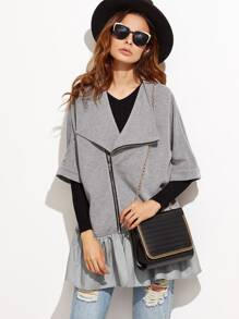 Heather Grey Ruffle Trim Asymmetric Zip Jacket