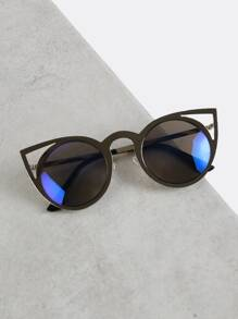 Metallic Cut Out Cat Eye Sunglasses SILVER