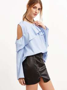 Blue Cold Shoulder Ruffle Blouse