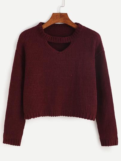 Burgundy Cut Out Crop Sweater