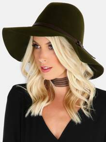 Leather Trim Medium Brim Hat OLIVE