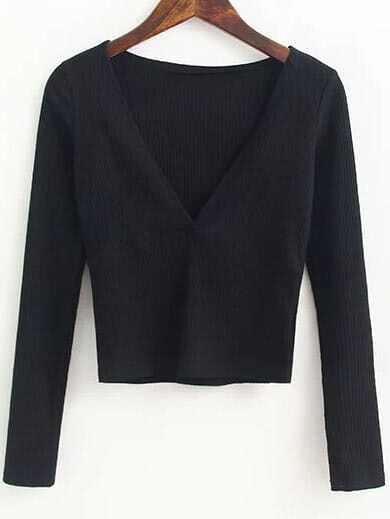 Black Deep V Neck Crop Knitwear sweater160912209