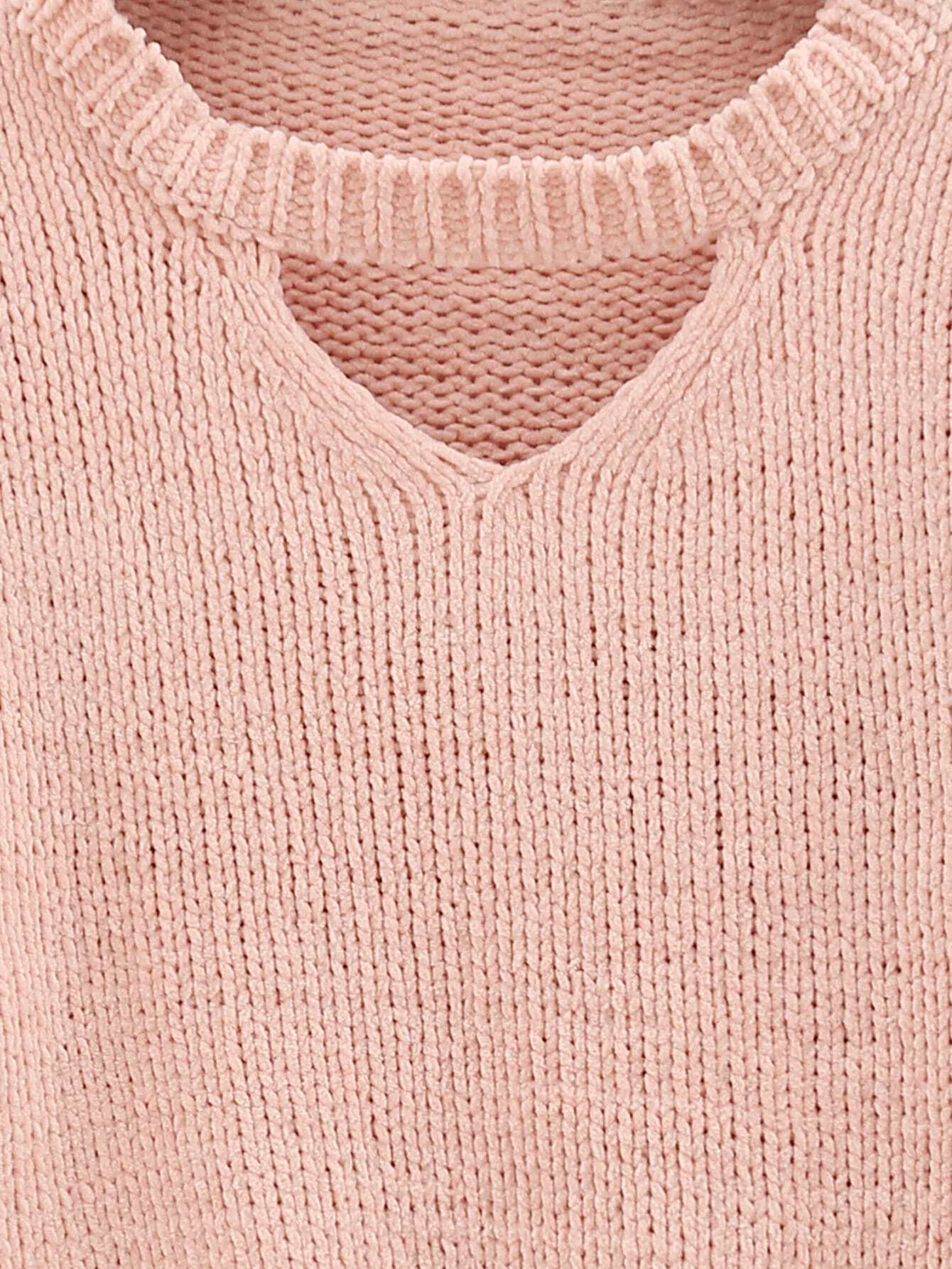 Pink Cut Out Crop Sweater -SheIn(Sheinside)