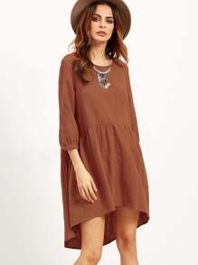 Lantern Sleeve Dip Hem Smock Dress