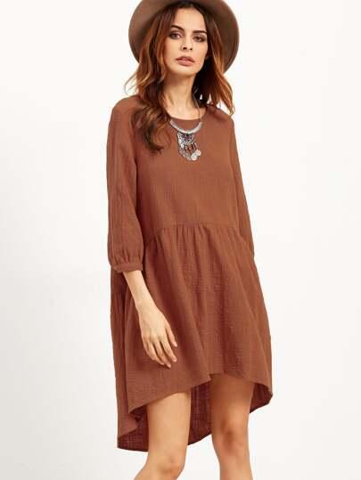 Robe asymétrique couleur unie - kaki