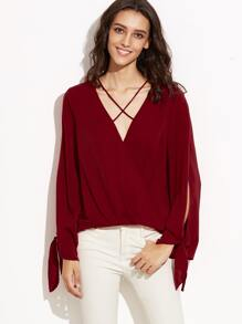 Burgundy Crisscross Neck Tied Split Sleeve Wrap Blouse