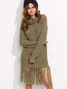 Olive Green Eyelet Geometric Knit Fringe Trim Sweater Dress