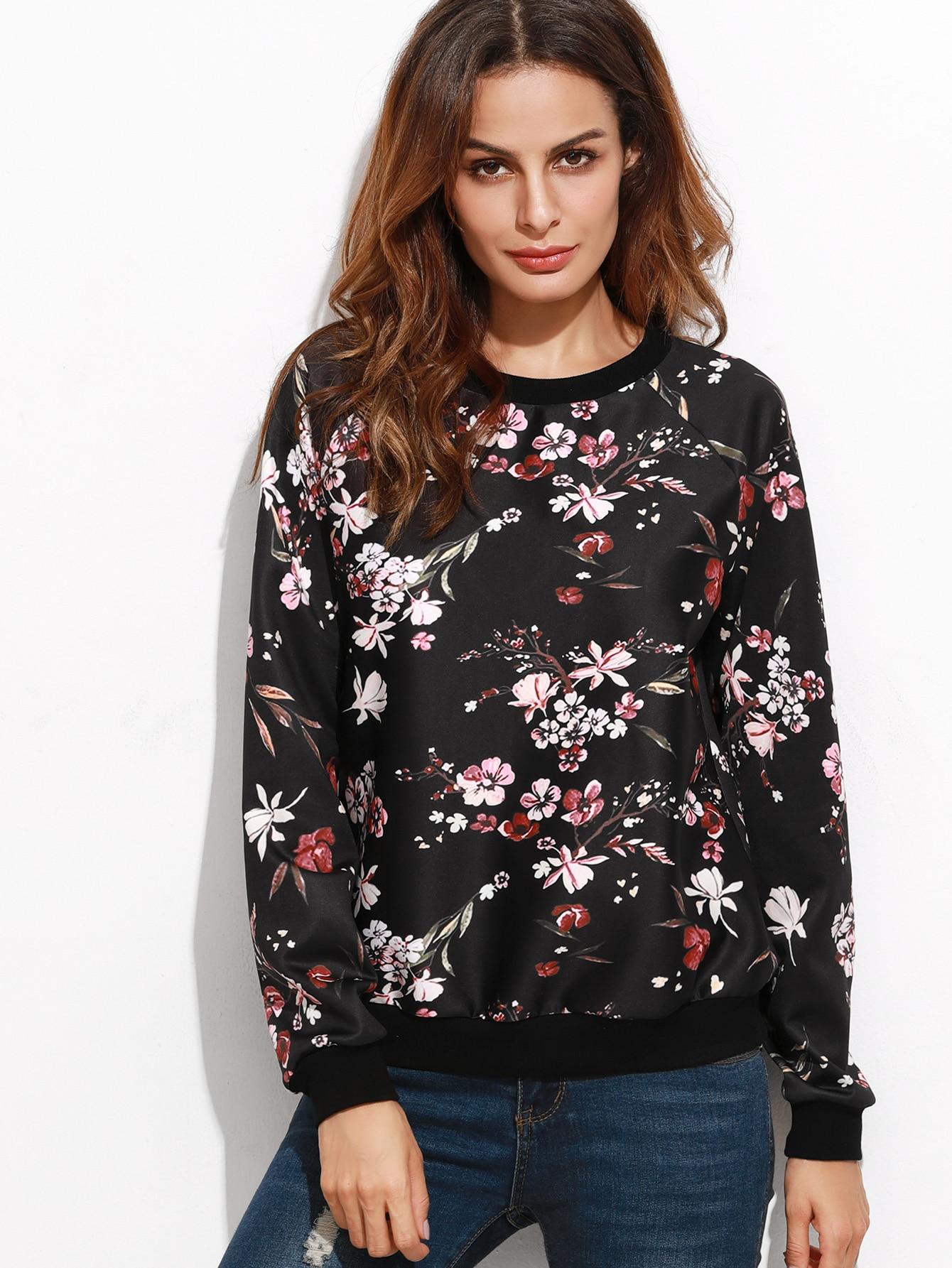 Black Floral Print Raglan Sleeve Sweatshirt sweatshirt160922502