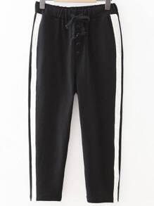 Black Striped Side Drawstring Waist Sports Pants