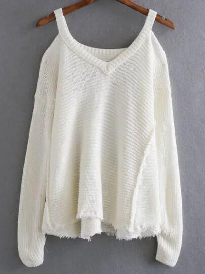 Cut-Outs Asymmetrische Saum Pullover-weiß