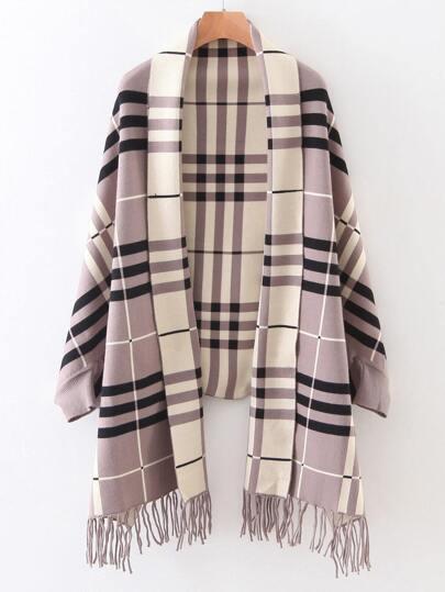 Khaki Plaid Shawl Collar Fringe Detail Poncho Sweater
