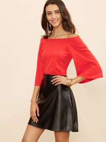 Red Off The Shoulder Top With Faux Leather Skirt