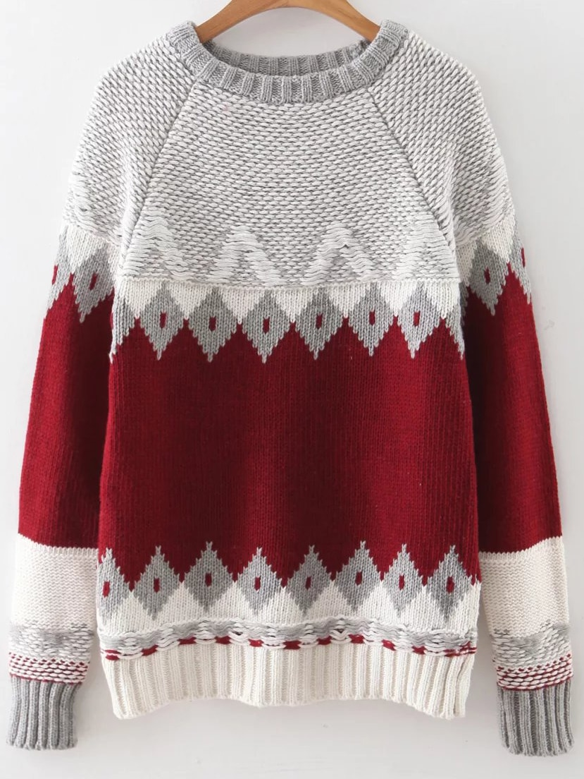 Red Geometric Pattern Ribbed Trim Sweater sweater160901212