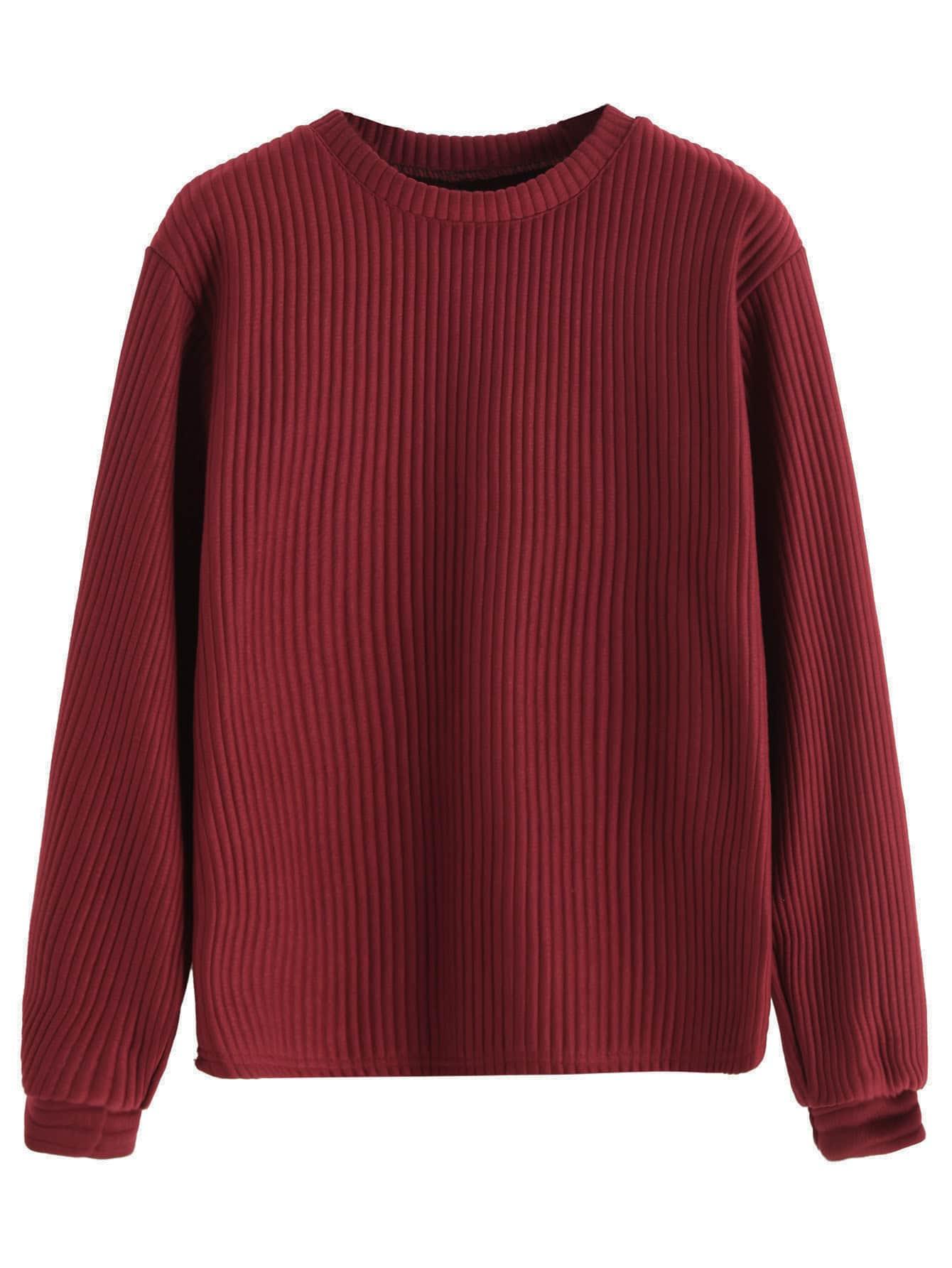 Burgundy Long Sleeve Ribbed Sweatshirt sweatshirt160908104