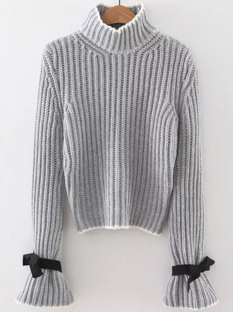 Grey Turtle Neck Bow Embellished Bell Sleeve Sweater sweater160909216