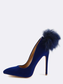 Pom Pom Tail Velvet Pumps NAVY