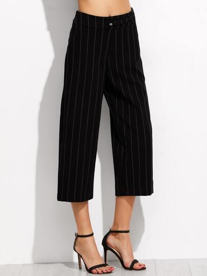 Pantaloni Larghi A Strisce Verticali - Nero