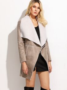 Camel Faux Shearling Drape Collar Asymmetric Zip Coat