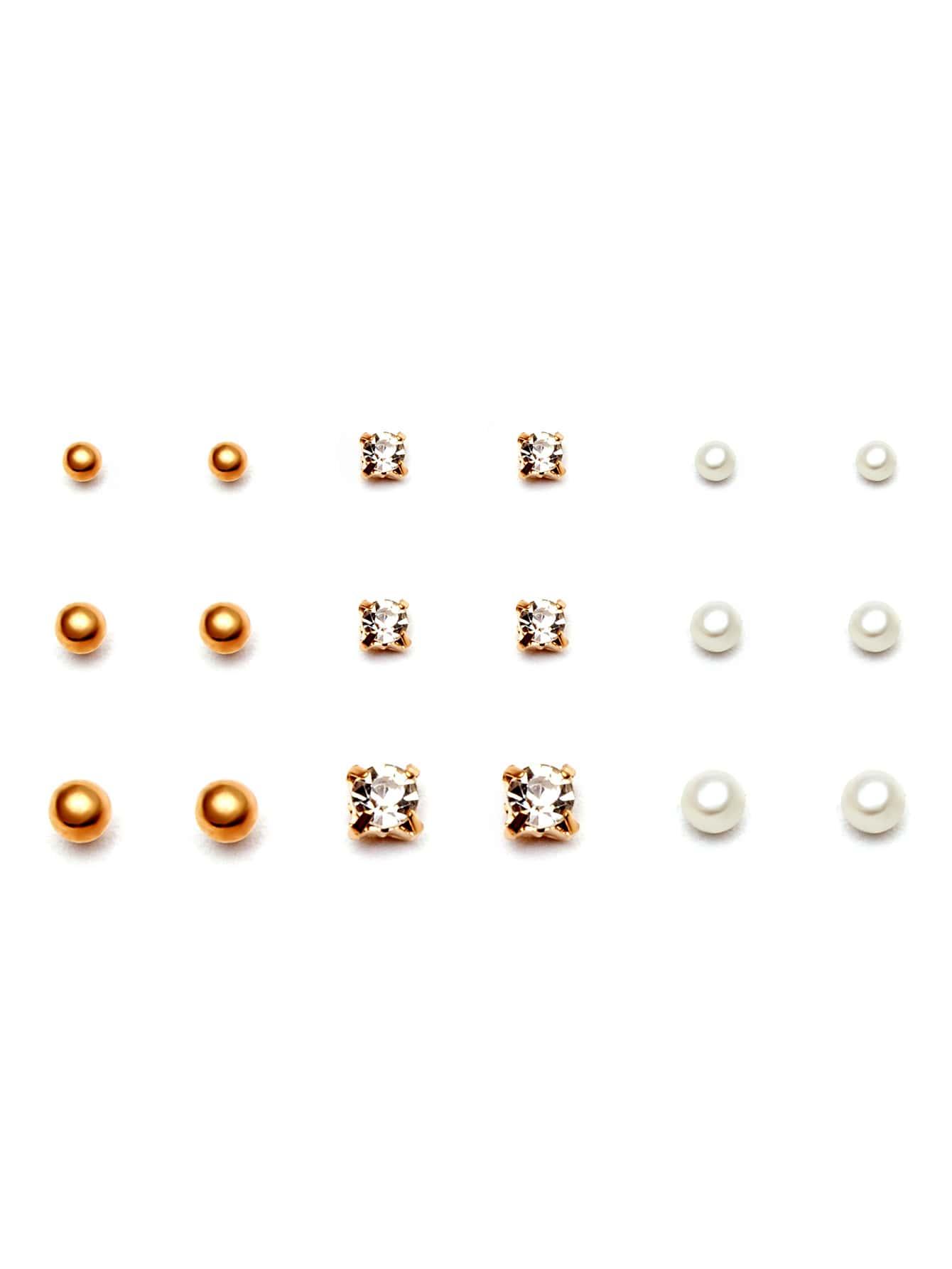 Фото Gold Ball Rhinestone Stud Earrings Set. Купить с доставкой