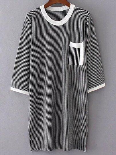 Black Striped Pocket Sweater Dress