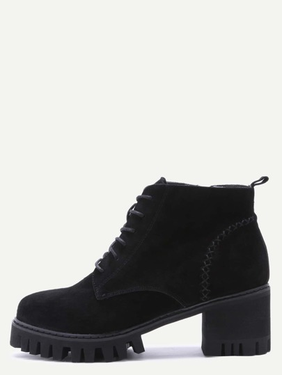 black genuine leather topstitch lace up chunky boots