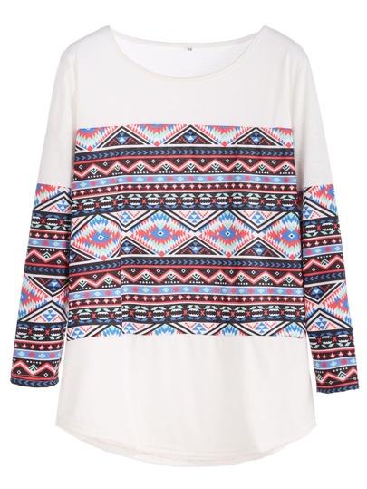 White Folk Print Curved Hem T-shirt