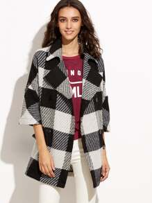 Black And White Checkered 3/4 Sleeve Double Breasted Coat