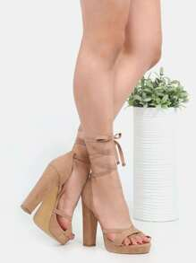 Suede Lace Up Chunky Heels TAUPE