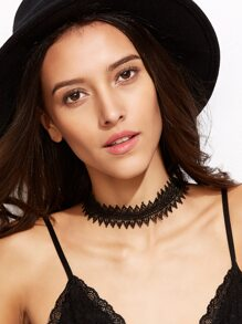 Black Geometric Lace Choker Necklace