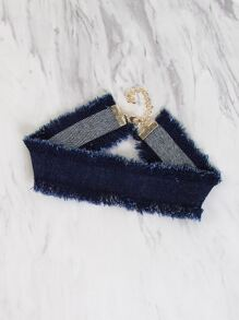 Frayed Denim Choker DENIM