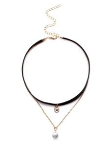 Black Rhinestone And Faux Pearl Pendant Layered Choker