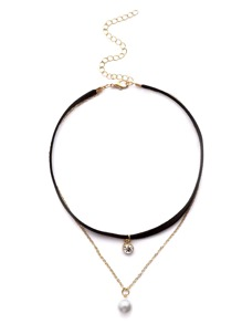 Collana Con Pendente Perline False Strass - Nero