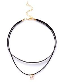 Black Layered Rhinestone Choker Necklace