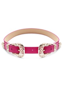 Hot Pink Double Buckle Faux Leather Belt